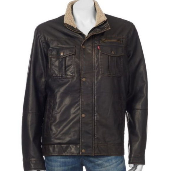 9b304f28f4 Levi s Mens Faux Leather Trucker Jacket